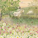 "BLANK CARD "" FIELD WITH HORSE/FLOWERS"" LARGE SQUARE SIZE 6.25"" x 6.25"" BLHI 2038"